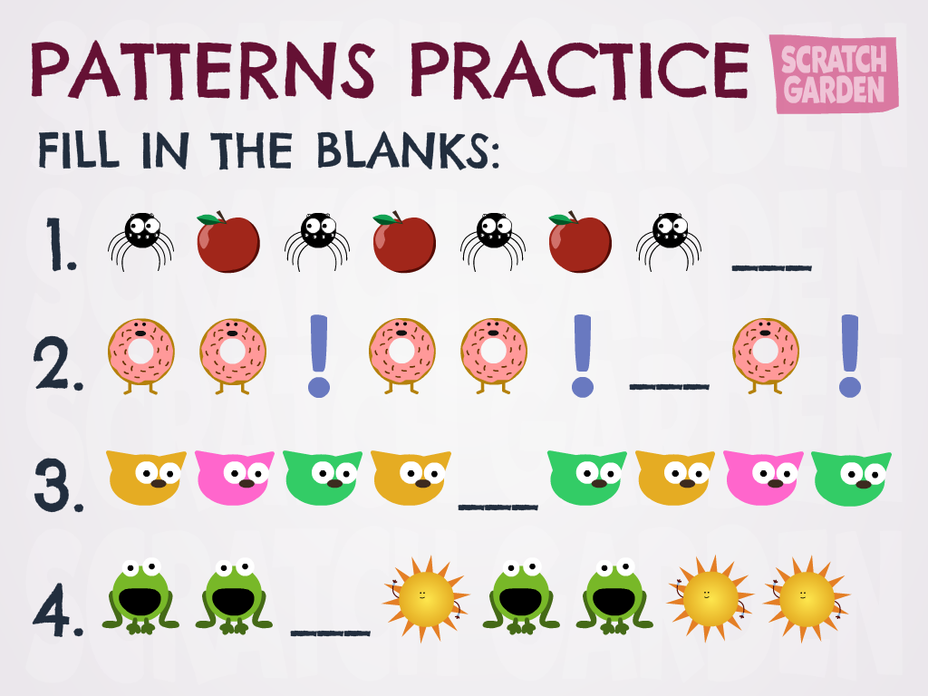 Patterns Practice Worksheet